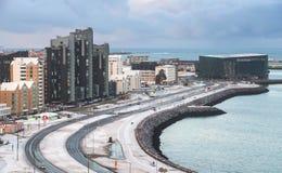 Horizon côtier de la capitale de l'Islande Images libres de droits