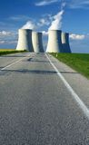 Horizon with chimney. Chimney of power station on  horizon with road Stock Image