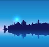 Horizon détaillé de silhouette d'Istanbul de vecteur Image libre de droits