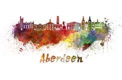 Horizon d'Aberdeen dans l'aquarelle Image libre de droits