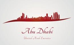 Horizon d'Abu Dhabi à l'arrière-plan rouge et gris Photo stock