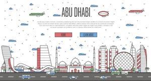 Horizon d'Abu Dhabi avec les points de repère célèbres nationaux Illustration de Vecteur