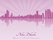 Horizon d'Abu Dhabi dans l'orchidée rayonnante Photographie stock