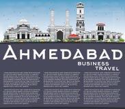 Horizon d'Ahmedabad avec Gray Buildings, le ciel bleu et l'espace de copie Illustration Stock