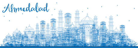 Horizon d'Ahmedabad d'ensemble avec les bâtiments bleus Illustration Stock
