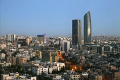 Horizon d'Amman au lever de soleil Photo stock