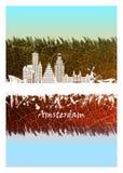 Horizon d'Amsterdam bleu et blanc illustration libre de droits