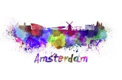 Horizon d'Amsterdam dans l'aquarelle illustration de vecteur