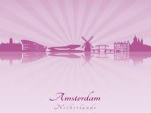 Horizon d'Amsterdam dans l'orchidée rayonnante illustration de vecteur