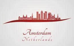 Horizon d'Amsterdam V2 en rouge illustration de vecteur