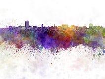 Horizon d'Ann Arbor à l'arrière-plan d'aquarelle Images stock