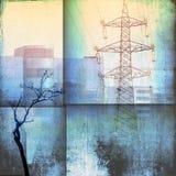 Horizon d'architecture d'imagination avec le bâtiment, le pylône et les arbres nus dans des tons bleus images stock