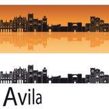 Horizon d'Avila à l'arrière-plan orange Photos stock