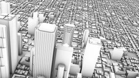 Horizon 3D du centre (bouclage) de ville illustration de vecteur