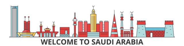 Horizon d'ensemble de l'Arabie Saoudite, ligne mince plate arabe icônes, points de repère, illustrations Paysage urbain de l'Arab Photographie stock libre de droits