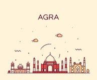 Horizon d'Âgrâ, Inde Style linéaire de vecteur à la mode illustration stock