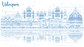 Horizon d'Inde d'Udaipur d'ensemble avec les bâtiments bleus et la réflexion illustration de vecteur