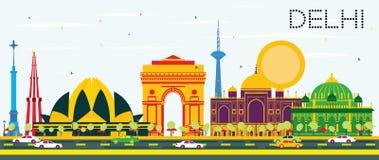 Horizon d'Inde de Delhi avec les bâtiments de couleur et le ciel bleu illustration stock