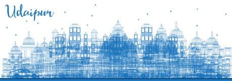 Horizon d'Inde d'Udaipur d'ensemble avec les bâtiments bleus illustration de vecteur