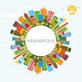 Horizon d'Indianapolis avec les bâtiments de couleur, le ciel bleu et la station thermale de copie illustration libre de droits