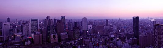 Horizon d'Osaka au coucher du soleil Image libre de droits