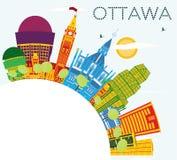 Horizon d'Ottawa avec les bâtiments de couleur, le ciel bleu et l'espace de copie illustration libre de droits