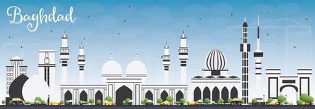 Horizon de Bagdad avec Gray Buildings et le ciel bleu illustration de vecteur