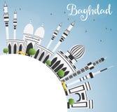 Horizon de Bagdad avec Gray Buildings, le ciel bleu et l'espace de copie illustration de vecteur