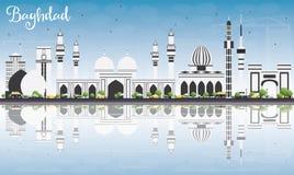 Horizon de Bagdad avec Gray Buildings, le ciel bleu et les réflexions illustration stock