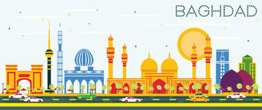 Horizon de Bagdad avec les bâtiments de couleur et le ciel bleu illustration de vecteur