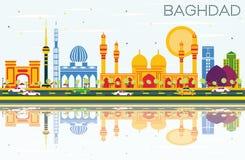 Horizon de Bagdad avec les bâtiments de couleur, le ciel bleu et les réflexions illustration libre de droits