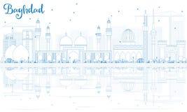 Horizon de Bagdad d'ensemble avec les bâtiments bleus et les réflexions illustration libre de droits