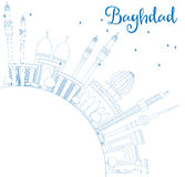 Horizon de Bagdad d'ensemble avec les bâtiments et l'espace bleus de copie illustration stock