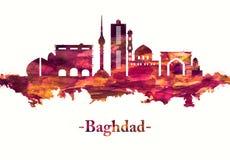 Horizon de Bagdad Irak en rouge illustration libre de droits