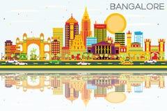 Horizon de Bangalore avec les bâtiments de couleur, le ciel bleu et les réflexions illustration stock