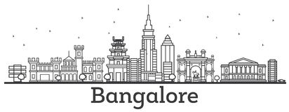 Horizon de Bangalore d'ensemble avec les bâtiments historiques illustration de vecteur
