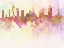Horizon de Barcelone à l'arrière-plan pour aquarelle illustration libre de droits