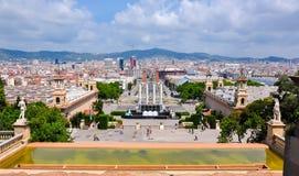Horizon de Barcelone de colline de Montjuic, Espagne Images libres de droits