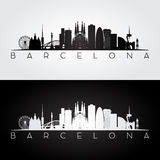 Horizon de Barcelone et silhouette de points de repère Images libres de droits