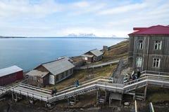 Horizon de Barentsburg, règlement russe dans le Svalbard, Norvège Images libres de droits