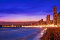 Horizon de Benidorm à la plage de coucher du soleil dans Alicante image libre de droits