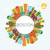 Horizon de Boston avec les bâtiments de couleur, le ciel bleu et l'espace de copie illustration de vecteur