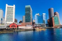 Horizon de Boston de lumière du soleil le Massachusetts de pilier de fan images stock