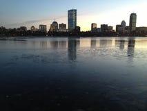 Horizon de Boston sur la glace Photographie stock