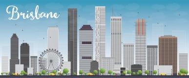 Horizon de Brisbane avec le bâtiment gris et le ciel bleu illustration libre de droits