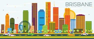Horizon de Brisbane avec les bâtiments de couleur et le ciel bleu illustration stock