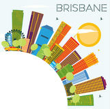 Horizon de Brisbane avec les bâtiments de couleur, le ciel bleu et l'espace de copie illustration de vecteur