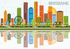 Horizon de Brisbane avec les bâtiments de couleur, le ciel bleu et les réflexions illustration libre de droits