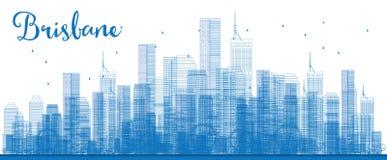 Horizon de Brisbane d'ensemble avec le bâtiment bleu illustration libre de droits