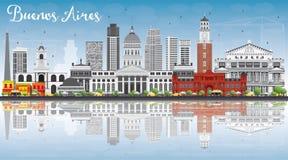 Horizon de Buenos Aires avec les points de repère de couleur, le ciel bleu et le Reflecti illustration stock